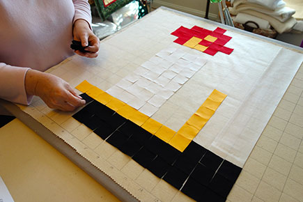 Laying Out Fabric for The Candle